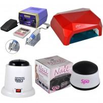 Torno Drill 288 Professional para Manos y Pies  + Cabina LED UV 40W + Removedor Teknikpro + Esterilizador