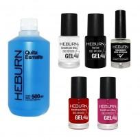 Combo Heburn 8: Esmaltes Efecto Gel + Top Coat + Tratamiento + Quitaesmalte