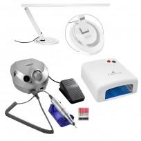 Cabina Easy Nail + Torno Perfect Drill + Lámpara LED de Mesa