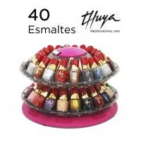 Exhibidor Calesita Completo con 40 Esmaltes Tradicionales Thuya