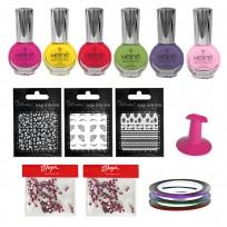 6 Esmaltes Color Meliné + Deco de Uñas
