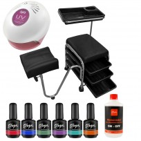 Módulo Pedicuría 3 Cajones + 6 Esmaltes Gel On - Off Thuya + Cabina + Removedor