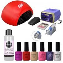 Combo 6 Esmaltes Meliné + Removedor + Cabina UV - LED + Torno